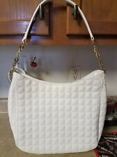 Antonio Melani White Metallic Embossed/Quilted Handbag Shoulder/Tote..FREE SHIP!