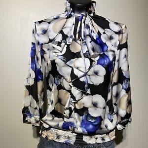 XXS Womans WHITE HOUSE BLACK MARKET Floral Tie Mock Neck Blouse Top