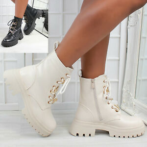 New Womens Lace Up Golden Chain Biker Ankle Boots High Top Faux Leather Shoes