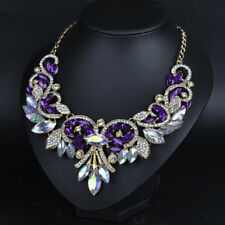 US SELLER SHIP FROM NYC purple/clear Glass Gem rhinestone fashion Wrap Necklace