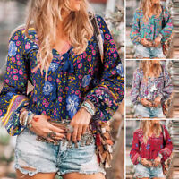 ZANZEA Women Floral Blouse T Shirt Lace Up Tee Beach Club Party Long Sleeve Top