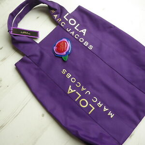 MARC JACOBS Lola Tote Bag Beach Shopping Detachable Brooch Purple Gold