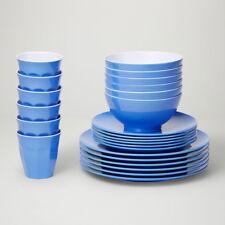 Barel Designs Cornflower Blue Melamine 48 Piece Dinner Set - Cups, Bowls, Plates