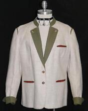CREAM COTTON & LINEN JACKET German Women Hunting Riding Coat 42 10 12 M B42""