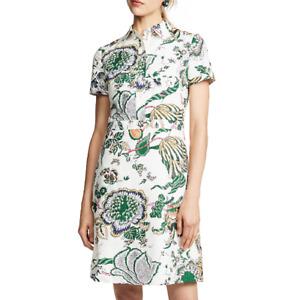 Tory Burch Ivory Happy Times Port Cotton Floral Print Shirt Mini Dress $348