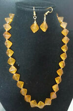 Vintage Czech pyramid glass necklace and earring set