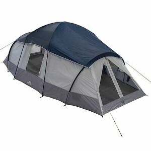 Family Cabin Tent 10 Person 3 Room 2 Side Entrances Outdoor Camping Shelter Blue