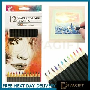 12 Watercolour Artist Pencils For Drawing Painting Sketching Art Water Colour UK