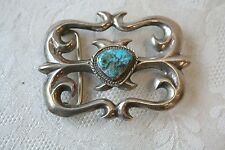 SIGNED NAVAJO TURQUOISE & STERLING SILVER BELT BUCKLE WH