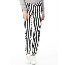 Original Adidas Neo Womens Selena Gomez Stripey Pants White/Black W 30 L 30