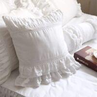 Shabby Chic European Cushion Pillow Cover Pillowcase White Lace Ruffled Square