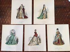 Vintage lot of 5 Costume Fashion Ladies Art Prints 9x11 Collectible