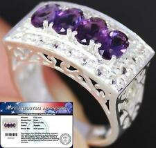 Natural 2.50Cts AMETHYST & White TOPAZ 925 Sterling Silver RING S7.5 ChunKY BOLD