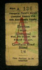 1957 original INAUGURAL FLOODLIT MATCH   ticket EVERTON v LIVERPOOL A