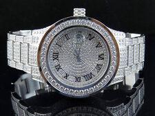 Mens Jewelry Unlimited White Gold Steel Simulated Lab Diamond Watch 45MM DJ-02