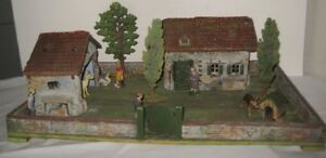 Old Rare 1920s German Elastolin Farmstead Platform w/ House Barn & 3 Trees +