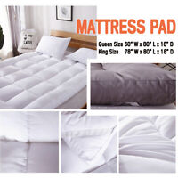King/Queen Size Mattress Pad Topper Cover Ultra Soft Additional Pad Corner Strap