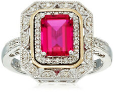 Womens Fashion Silver and 14k Gold Ruby Cut Emerald Art Deco-Style Ring size 8