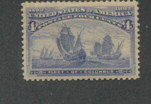 1893 US Stamp #233 4c Mint Hinged Very Fine Original Gum Catalogue Value $80