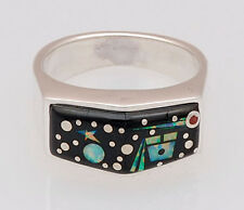 Calvin Begay Native American Night Sky Inlay Sterling Silver Ring Size 7 1/2