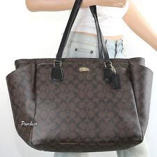 🌺🌺NWT Coach Signature Multifunction Diaper Baby Bag Tote Handbag F35414 Brown