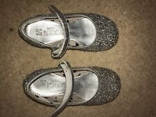 M&s Kids Silver Glitter Shoes Girl Uk Infant 8 25.5 Marks & Spencer