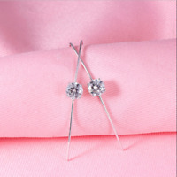 14K White Gold FN 2.20 Ct Round Gorgeous Cut Moissanite Drop/Dangle Hook Earring