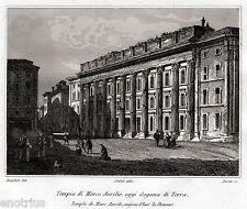 Roma: La Dogana di Terra. Piazza di Pietra. Audot. Acciaio. Stampa Antica. 1836