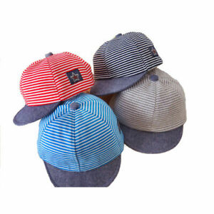 Kids Summer Spring Hats Striped Soft Cotton Baby Baseball Cap Sun Hat Beret new