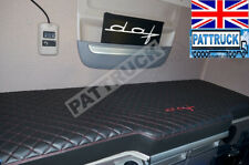 FITS  DAF XF 106 TRUCK ECO LEATHER BED COVER - BLACK WITH RED STITCHES