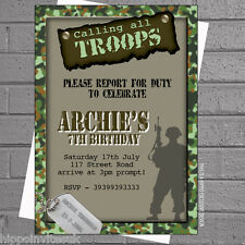 Boys Childrens Birthday Party Invitations Army Soldier Calling Troops x12 H0223