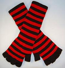 Striped Stripey Long Magic Unisex One Size Fingerless Gloves Emo Gothic Punk