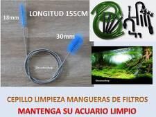 DOBLE LIMPIA TUBOS filtro ACUARIO 155cm con muelle CEPILLO de 18 y 30mm MANGUERA
