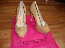 Shoedazzle tan Suede Zapatos De Taco Reino Unido 4-PVP 75 € - Kim Kardashian sitio web