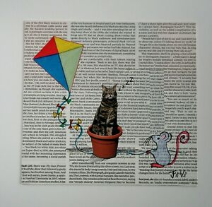 Original mixed media Art 'Cat 'n' Mouse' by Joyce and Vicky