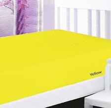"""800 TC 100%Cotton Fitted Sheet 15""""Deep Pkt Elastic All Around Twin Yellow Solid"""