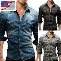 US Mens Fashion Wash Denim Jean Shirt Long Sleeve Casual Botton Down Shirts Tops