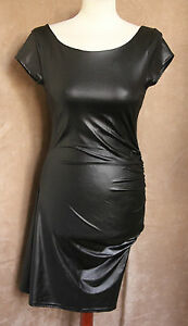 BNWT Shiny Black Cap Sleeve Ruched Party Dress - Size 10 - River Island