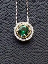 Brand New Created Emerald and Diamond Accent Birthstone Pendant