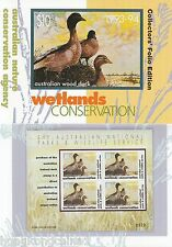 Australia 1993 Wood Duck stamp sheetlet and phontcard pack AU136001