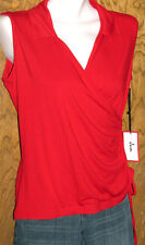 JUN GOLF & Everyday Wear RED Sleeveless Stretch Surplice TOP Size XS New