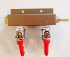 "Beer Tap Draft Co2 Nitrogen Gas Regulator 2 way Spliter Kegerator 1/4"" Barb"
