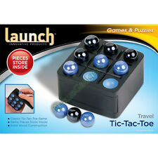 Tic Tac Toe Wood Wooden Board Game Box Set Marbles Travel Mini TicTacToe BLACK