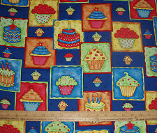 COTTON Fabric Happy Birthday Cake Cupcake Cupcakes Candle Celebration BTY