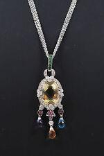 Estate 14KT White Gold Yellow Sapphire, Diamond Necklace
