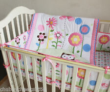 New 3pcs baby girl Crib Bedding Set Quilt Bumper Sheet