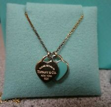 Tiffany & Co. Mini Double Heart Pendant Necklace With Box Enamel Blue