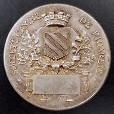 "Vintage ""Societe Canine de Picardie"" silvered bronze medal! Unengraved! "" 51 mm!"