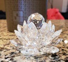 Euc Swarovski Water Lily Lotus Flower Silver Crystal Candle Holder 7600 Nr 123!