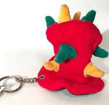 Crazy Red Top Mad Hatter Hat Witch Doctor Spikes Plush Keychain Hang Clip Retro